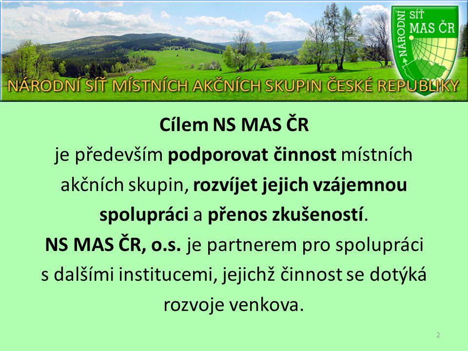 Cílem NS MAS ČR je především podporovat činnost místních akčních skupin, rozvíjet jejich vzájemnou spolupráci a přenos zkušeností.