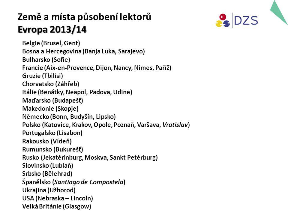 Země a místa působení lektorů Evropa 2013/14