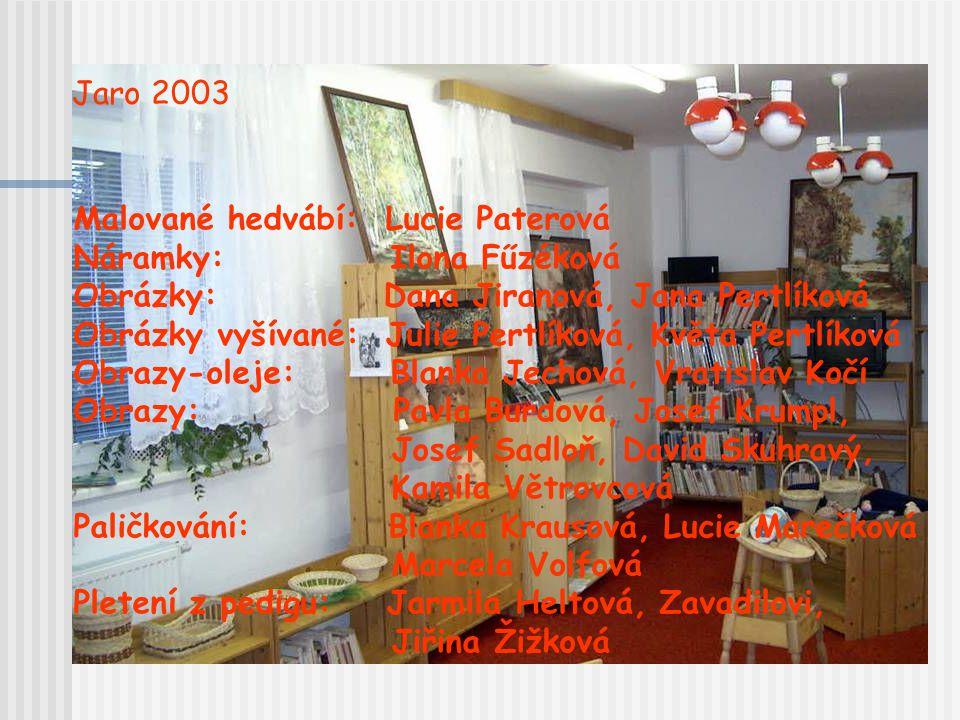 Jaro 2003 Malované hedvábí: Lucie Paterová. Náramky: Ilona Fűzéková. Obrázky: Dana Jiranová, Jana Pertlíková.