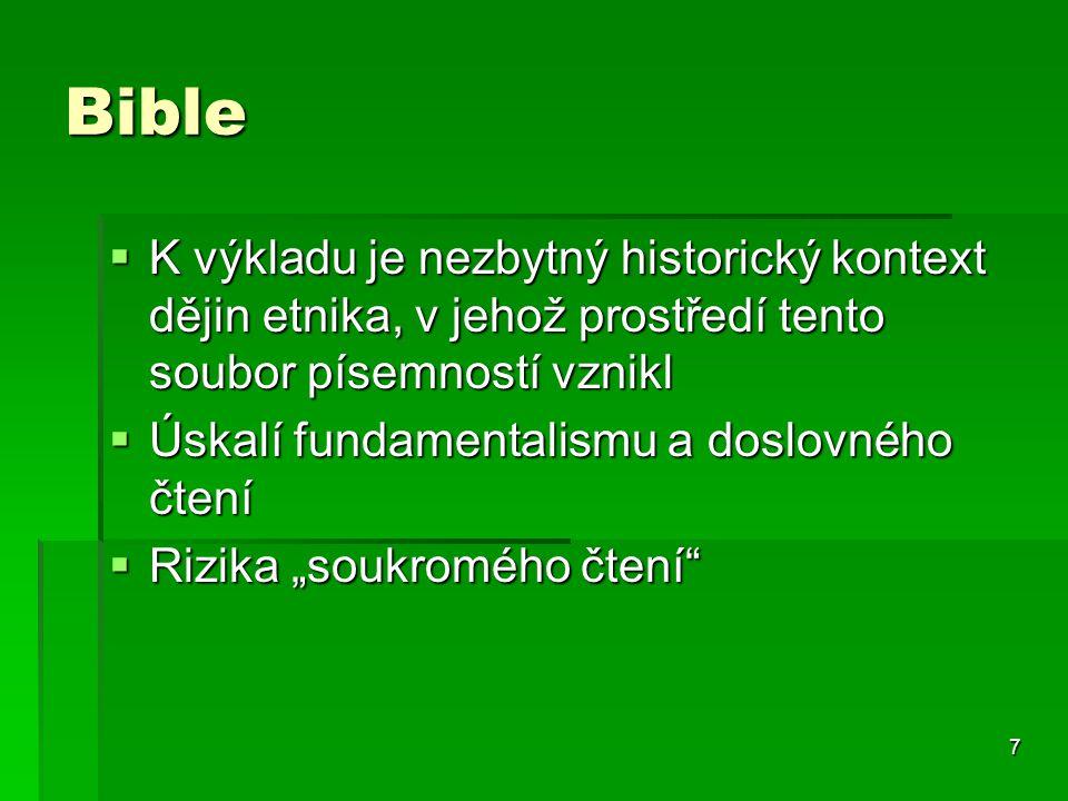 Bible K výkladu je nezbytný historický kontext dějin etnika, v jehož prostředí tento soubor písemností vznikl.