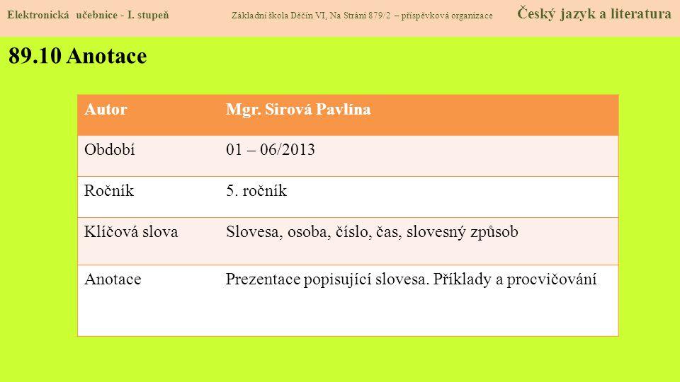 89.10 Anotace Autor Mgr. Sirová Pavlína Období 01 – 06/2013 Ročník