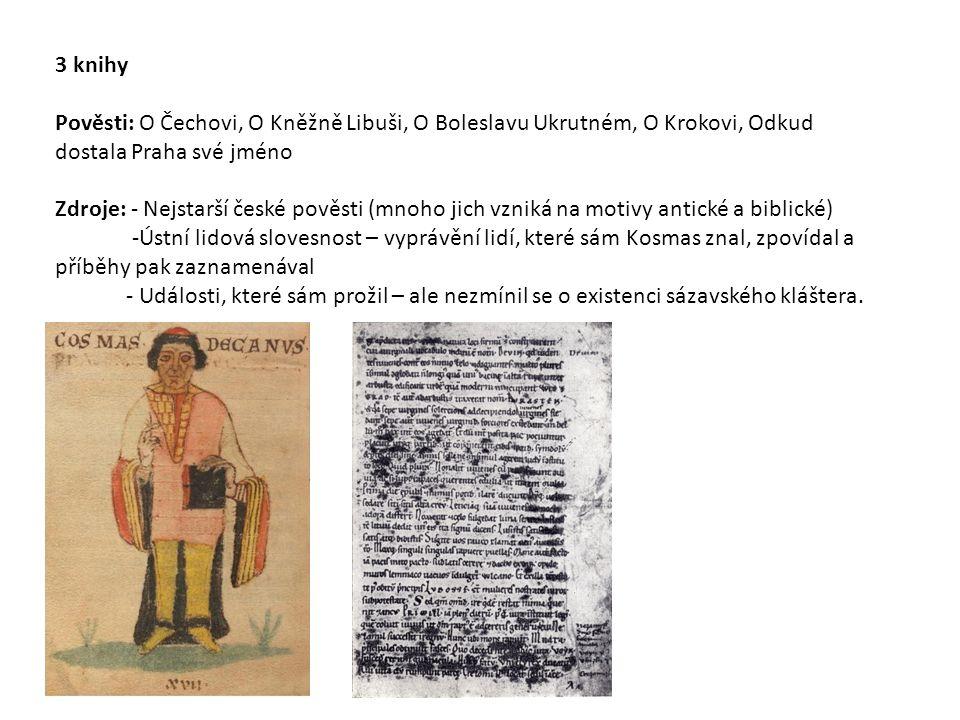 3 knihy Pověsti: O Čechovi, O Kněžně Libuši, O Boleslavu Ukrutném, O Krokovi, Odkud dostala Praha své jméno.