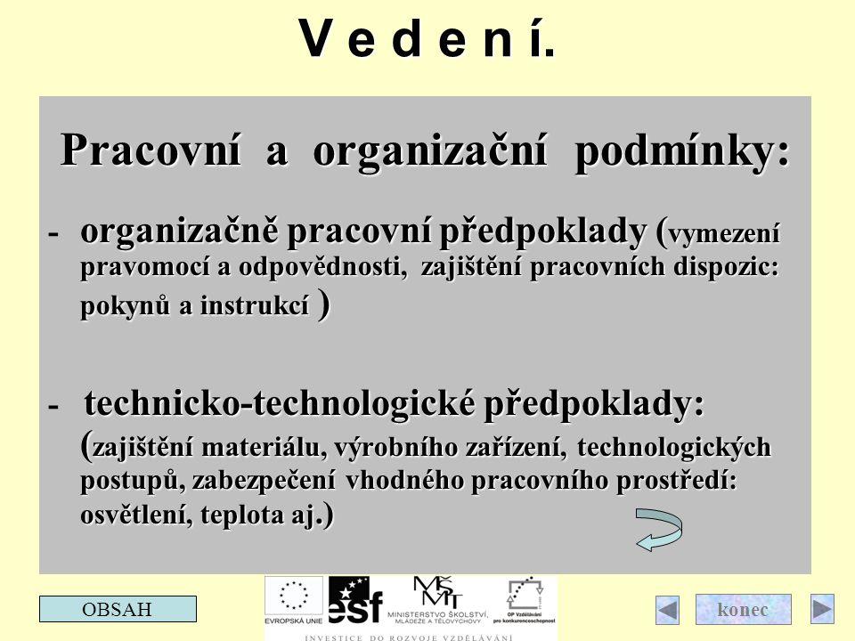 Pracovní a organizační podmínky: