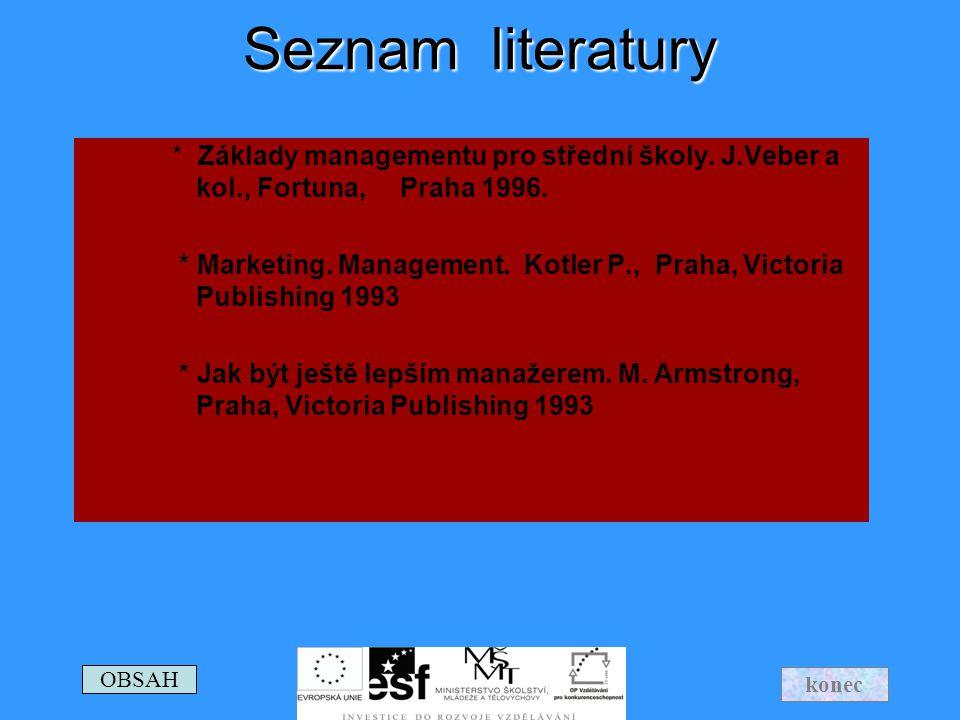 Seznam literatury * Základy managementu pro střední školy. J.Veber a kol., Fortuna, Praha 1996.