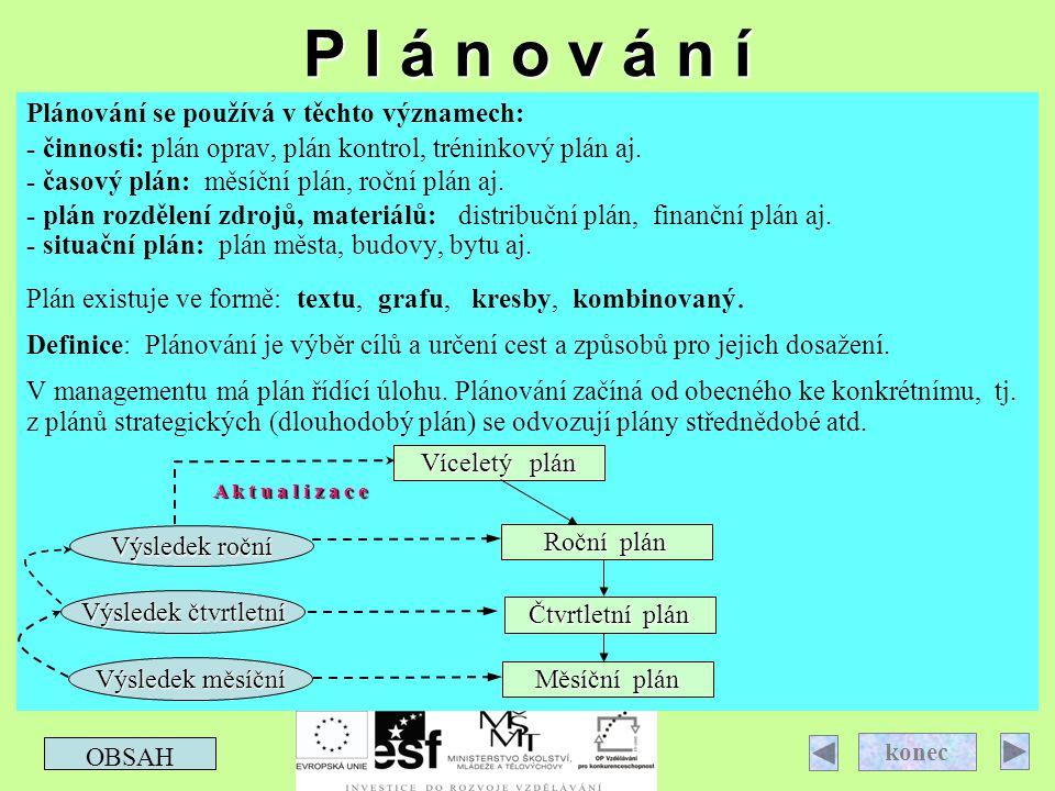P l á n o v á n í Plánování se používá v těchto významech: