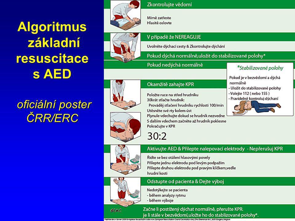 Algoritmus základní resuscitace s AED oficiální poster ČRR/ERC
