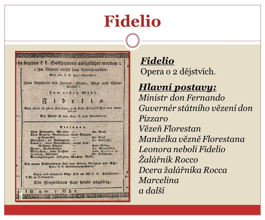 Fidelio Fidelio Hlavní postavy: Opera o 2 dějstvích.