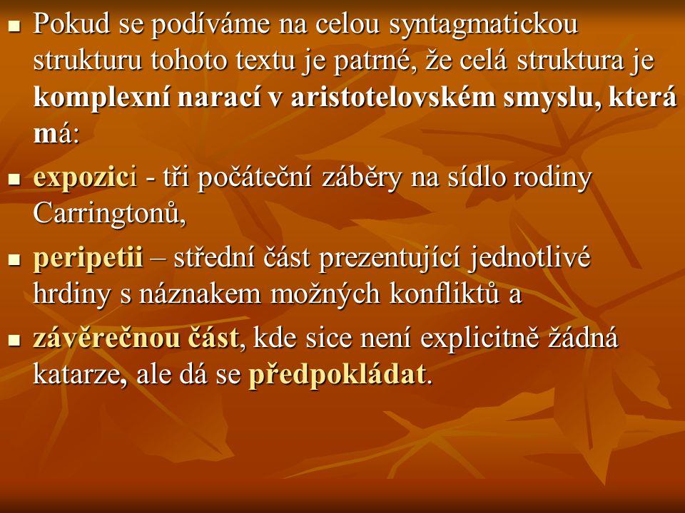 Pokud se podíváme na celou syntagmatickou strukturu tohoto textu je patrné, že celá struktura je komplexní narací v aristotelovském smyslu, která má: