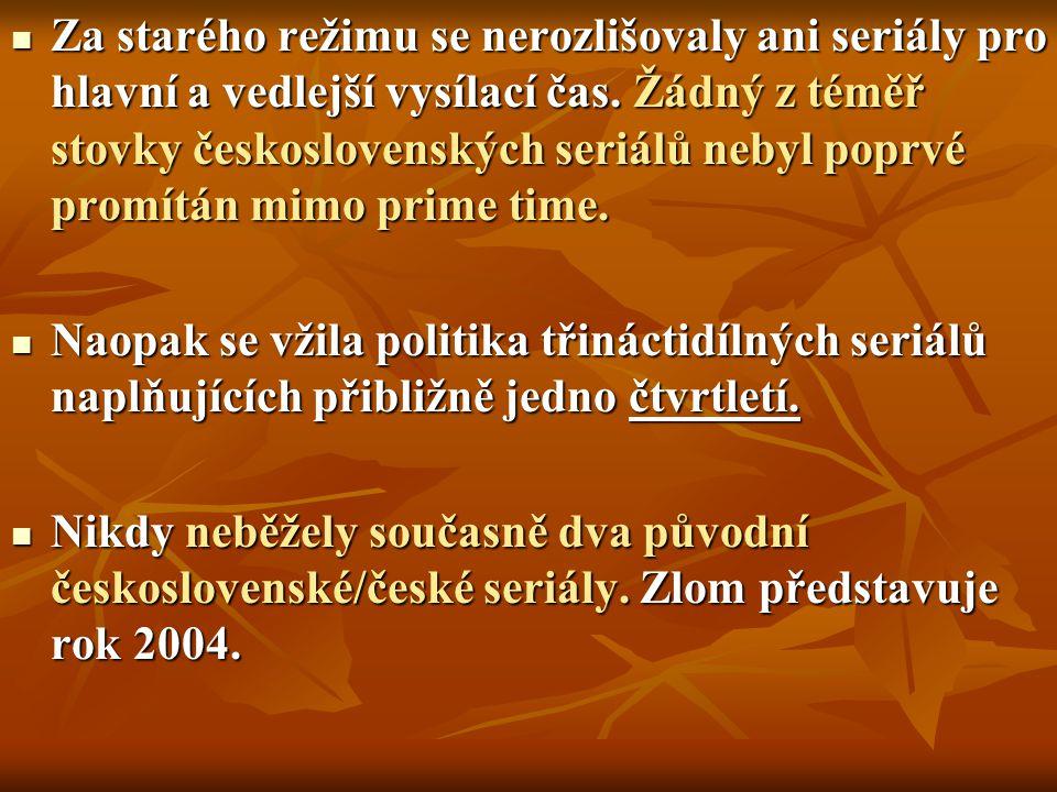 Za starého režimu se nerozlišovaly ani seriály pro hlavní a vedlejší vysílací čas. Žádný z téměř stovky československých seriálů nebyl poprvé promítán mimo prime time.