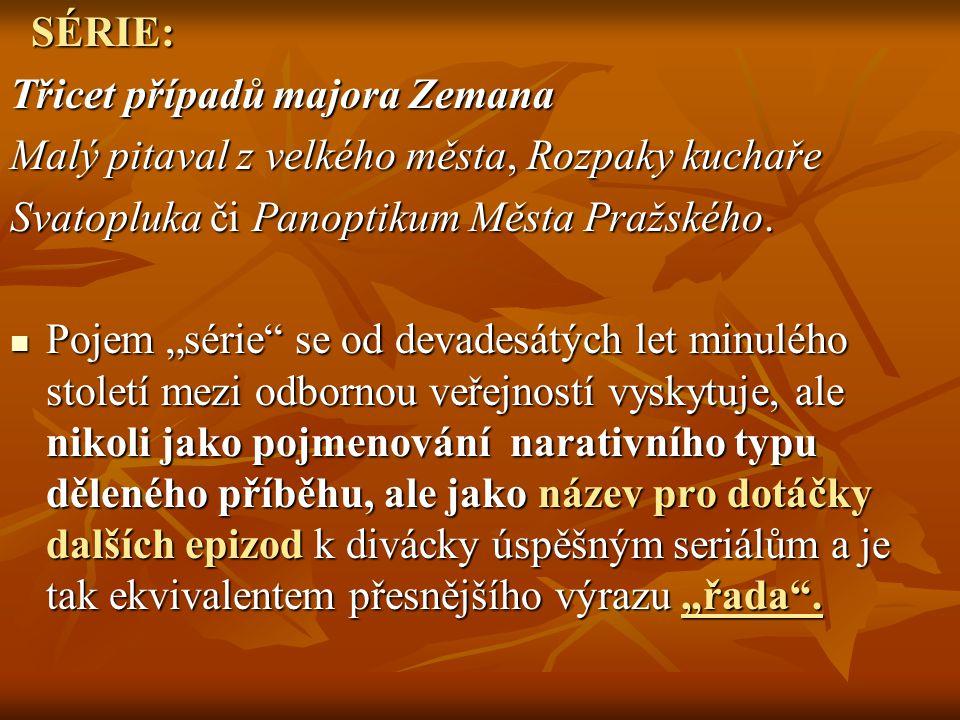 SÉRIE: Třicet případů majora Zemana. Malý pitaval z velkého města, Rozpaky kuchaře. Svatopluka či Panoptikum Města Pražského.