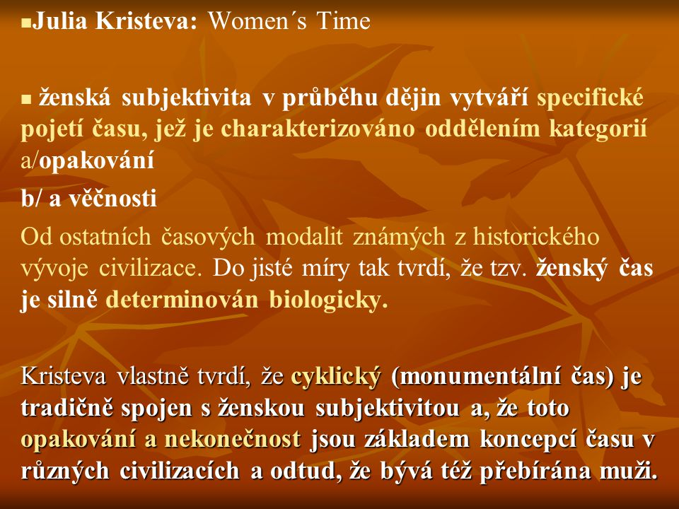 Julia Kristeva: Women´s Time