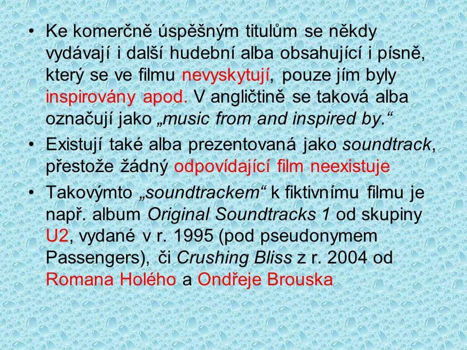 """Ke komerčně úspěšným titulům se někdy vydávají i další hudební alba obsahující i písně, který se ve filmu nevyskytují, pouze jím byly inspirovány apod. V angličtině se taková alba označují jako """"music from and inspired by."""