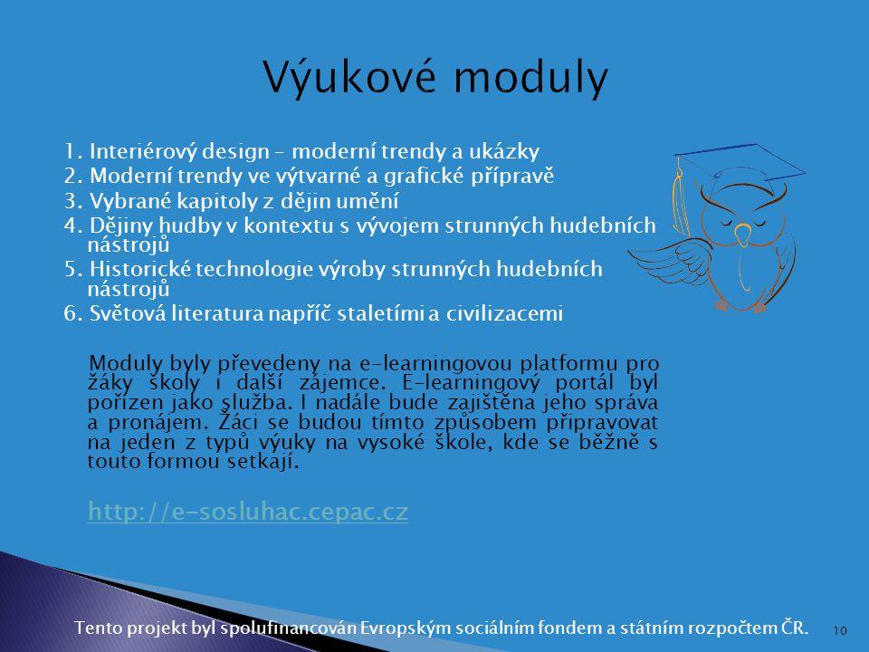 Výukové moduly http://e-sosluhac.cepac.cz
