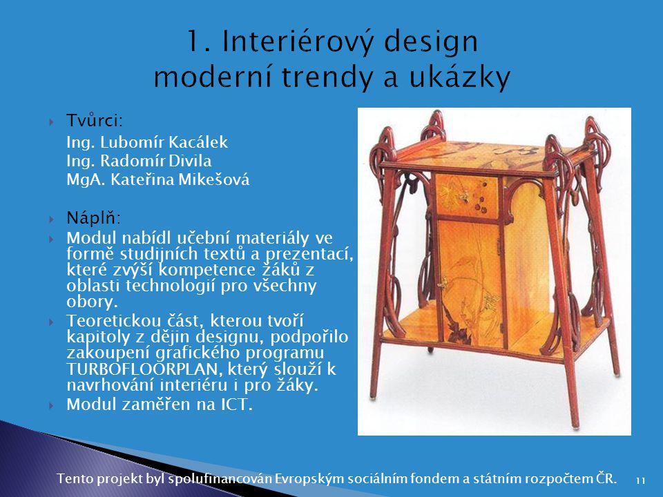 1. Interiérový design moderní trendy a ukázky