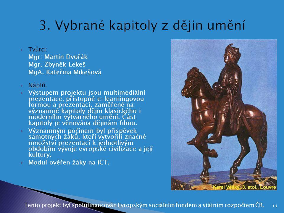 3. Vybrané kapitoly z dějin umění