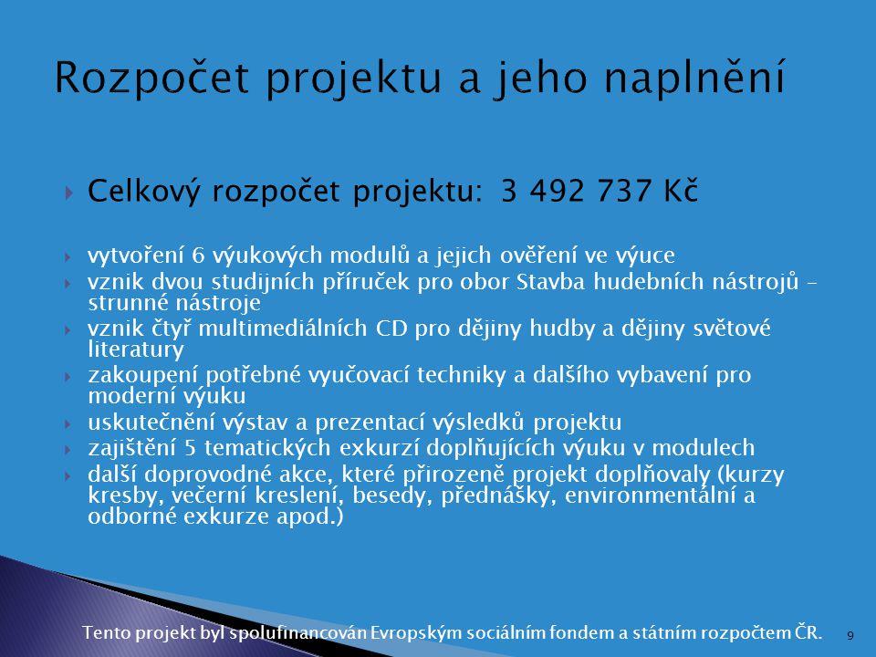 Rozpočet projektu a jeho naplnění