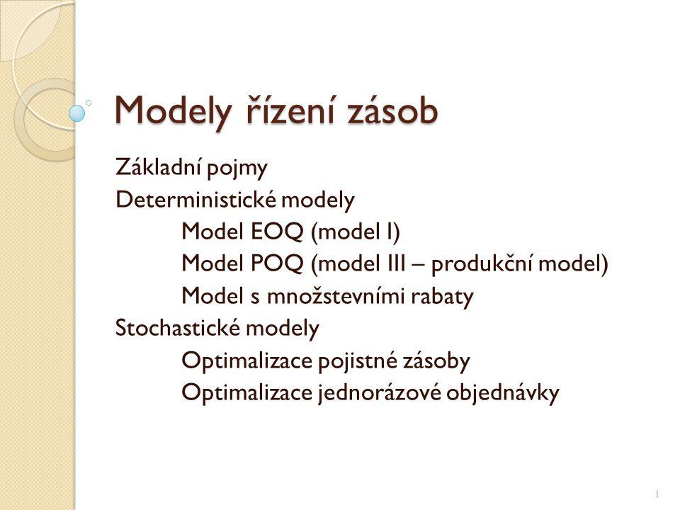Modely řízení zásob Základní pojmy Deterministické modely