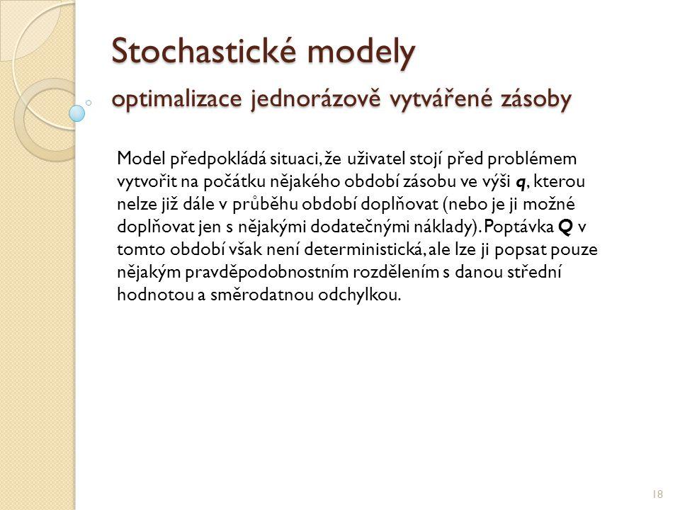 Stochastické modely optimalizace jednorázově vytvářené zásoby