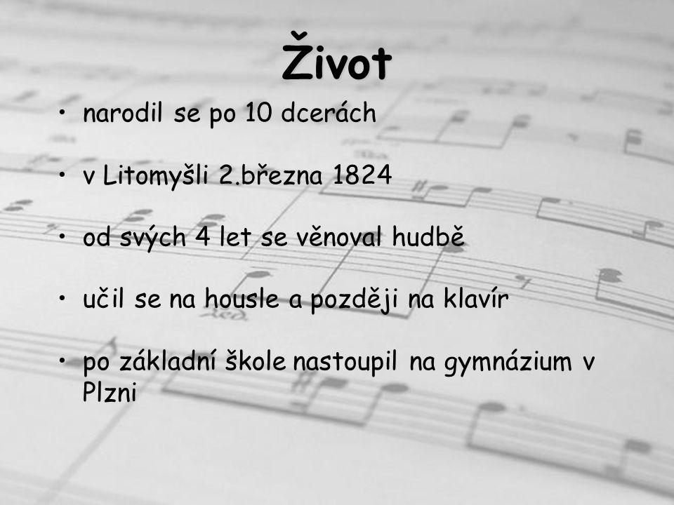 Život narodil se po 10 dcerách v Litomyšli 2.března 1824