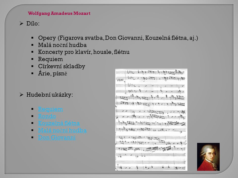 Opery (Figarova svatba, Don Giovanni, Kouzelná flétna, aj.)