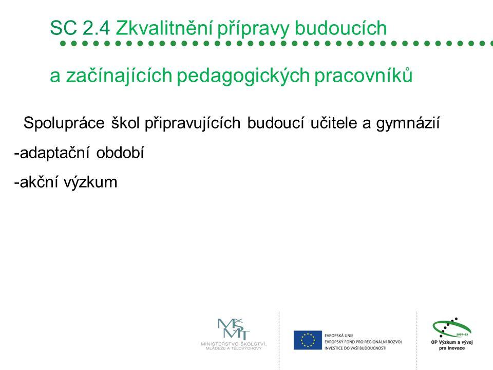 SC 2.4 Zkvalitnění přípravy budoucích a začínajících pedagogických pracovníků