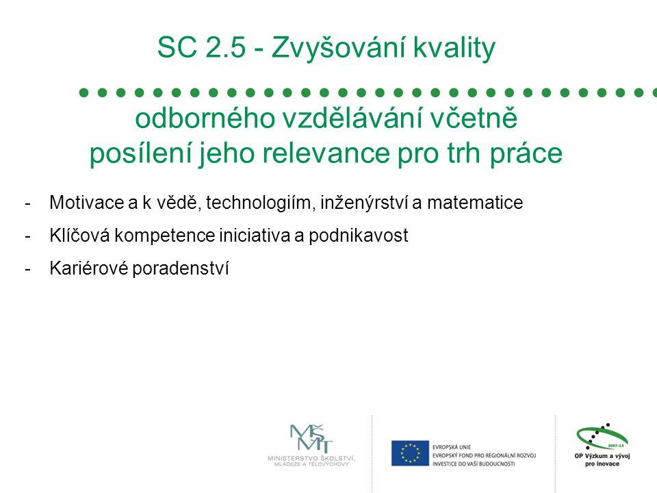 SC 2.5 - Zvyšování kvality odborného vzdělávání včetně posílení jeho relevance pro trh práce