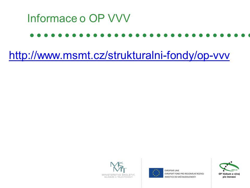 Informace o OP VVV http://www.msmt.cz/strukturalni-fondy/op-vvv