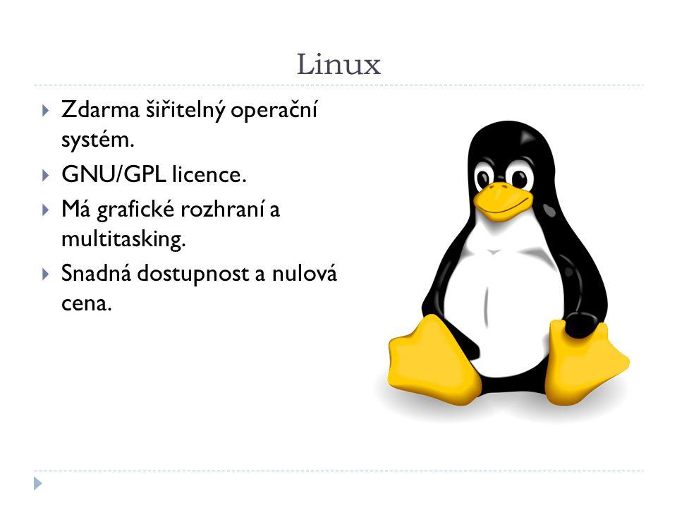 Linux Zdarma šiřitelný operační systém. GNU/GPL licence.