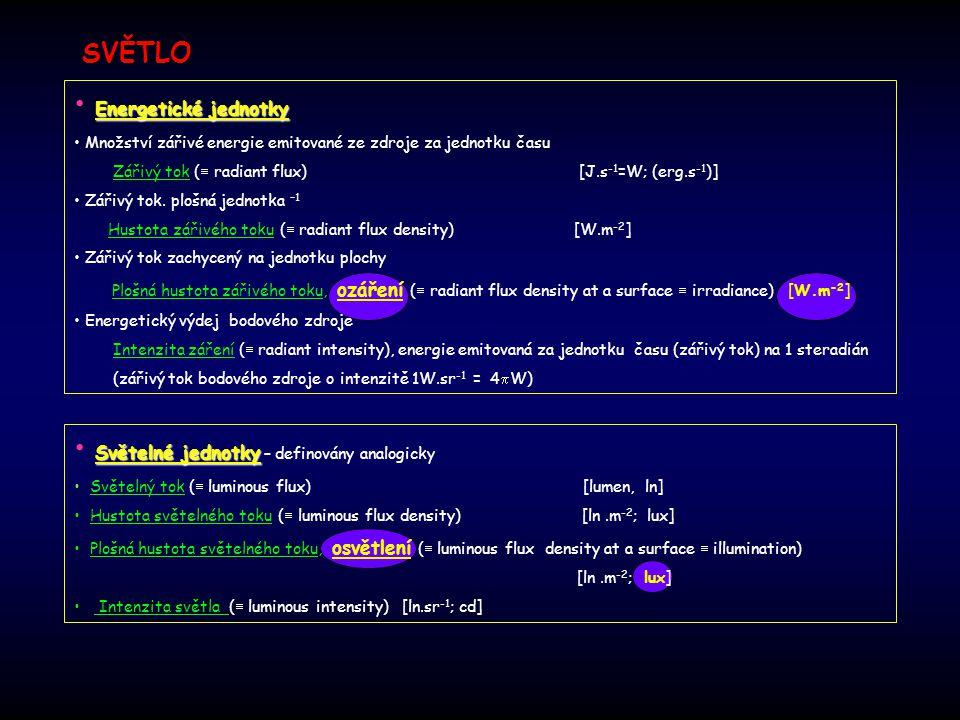 Světelné jednotky – definovány analogicky