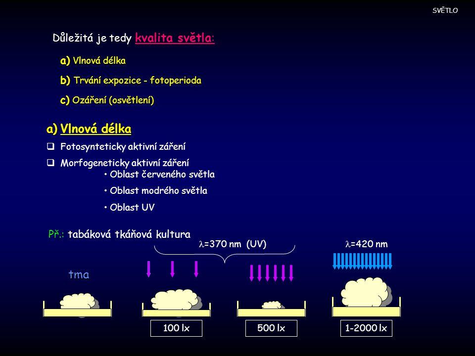 =420 nm =370 nm (UV) Vlnová délka tma