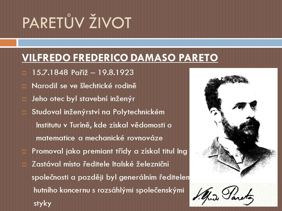 PARETŮV ŽIVOT VILFREDO FREDERICO DAMASO PARETO