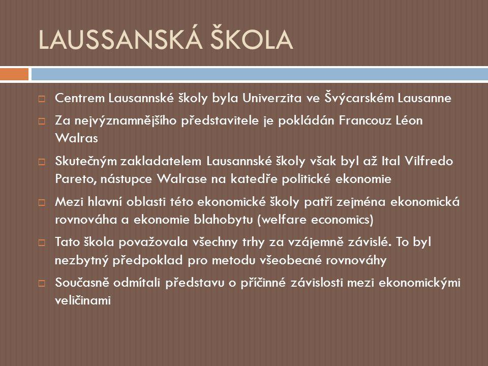 LAUSSANSKÁ ŠKOLA Centrem Lausannské školy byla Univerzita ve Švýcarském Lausanne.
