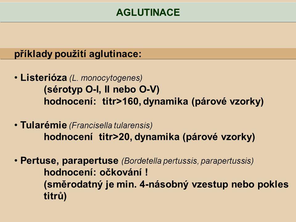 AGLUTINACE příklady použití aglutinace: Listerióza (L. monocytogenes) (sérotyp O-I, II nebo O-V) hodnocení: titr>160, dynamika (párové vzorky)