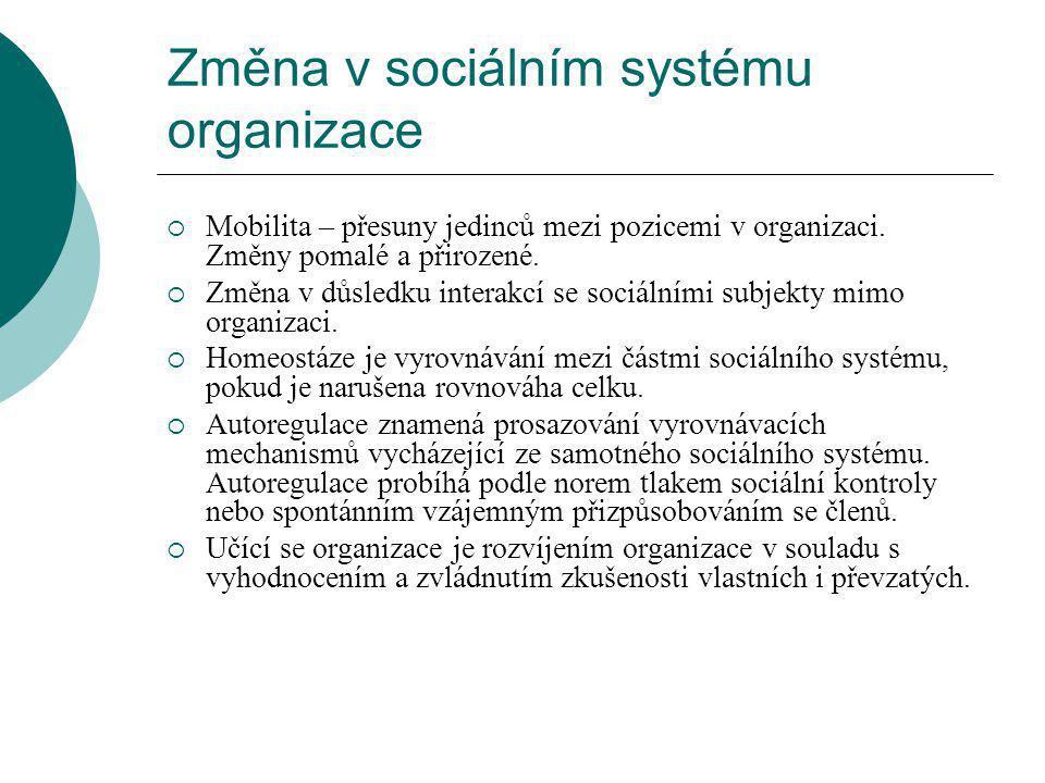Změna v sociálním systému organizace