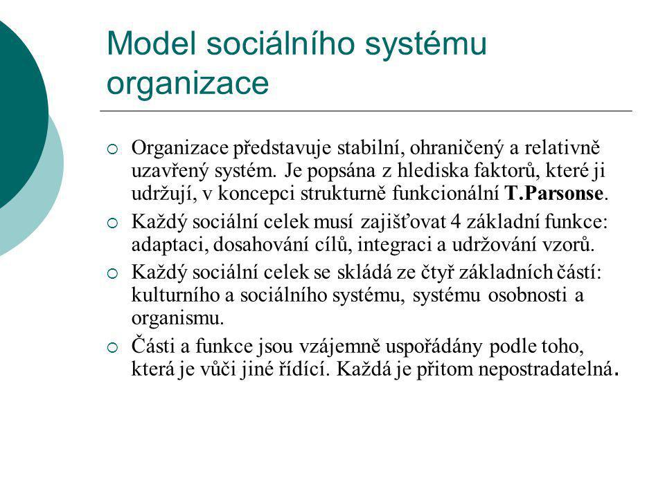 Model sociálního systému organizace