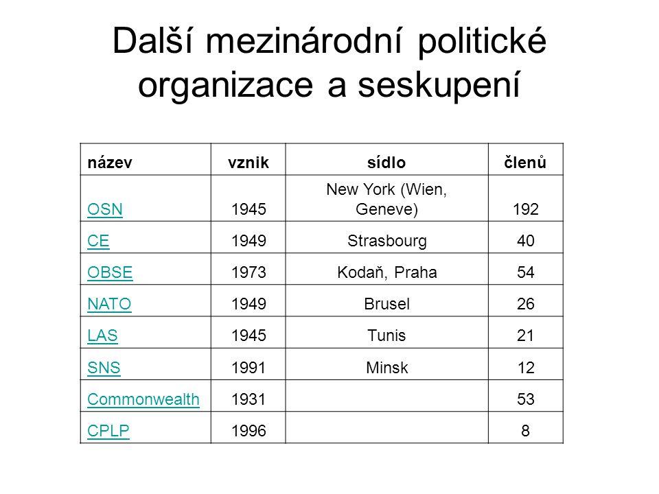 Další mezinárodní politické organizace a seskupení
