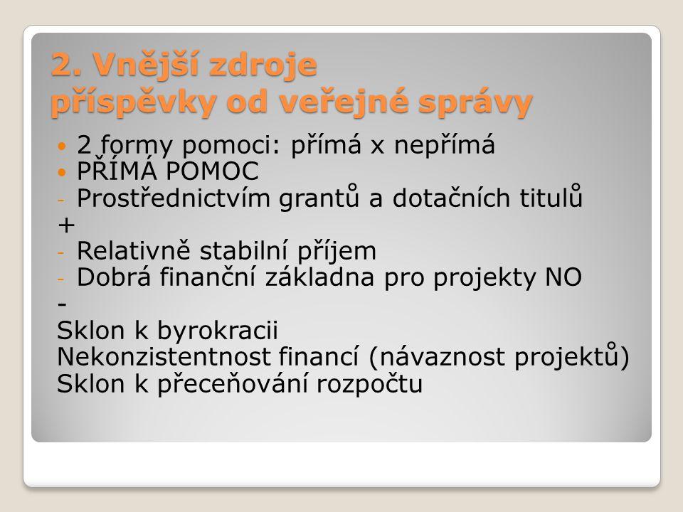 2. Vnější zdroje příspěvky od veřejné správy