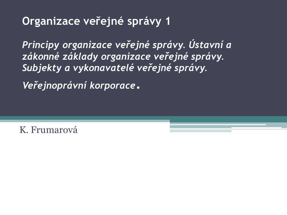 Organizace veřejné správy 1. Principy organizace veřejné správy
