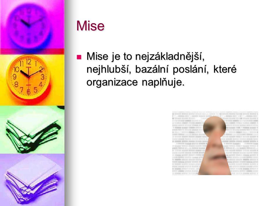 Mise Mise je to nejzákladnější, nejhlubší, bazální poslání, které organizace naplňuje.