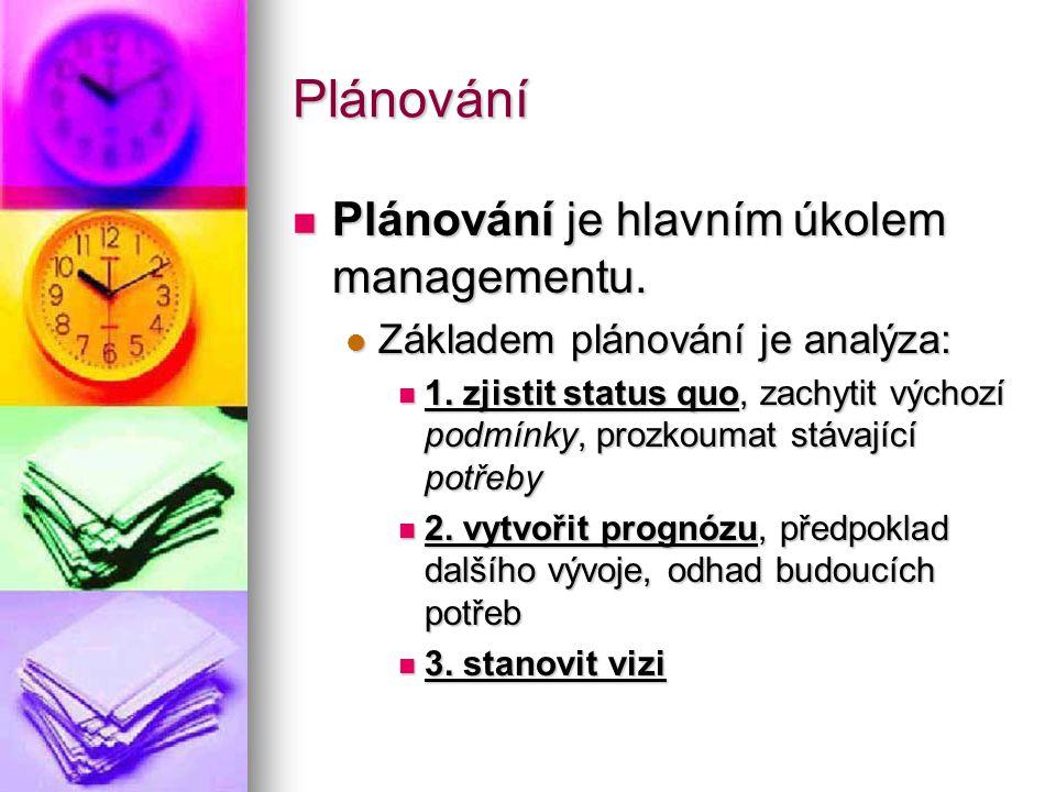 Plánování Plánování je hlavním úkolem managementu.