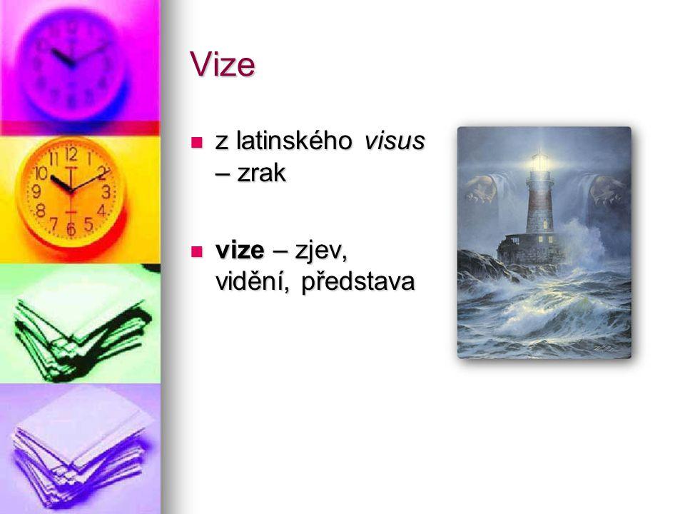 Vize z latinského visus – zrak vize – zjev, vidění, představa