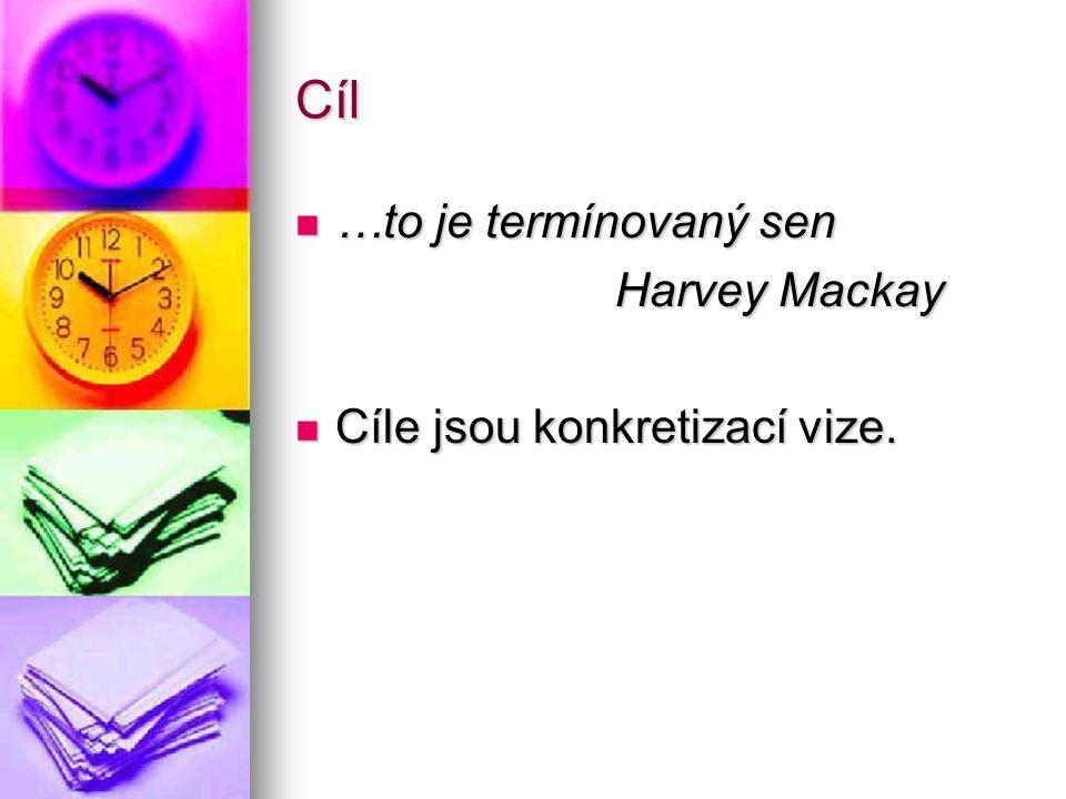 Cíl …to je termínovaný sen Harvey Mackay Cíle jsou konkretizací vize.