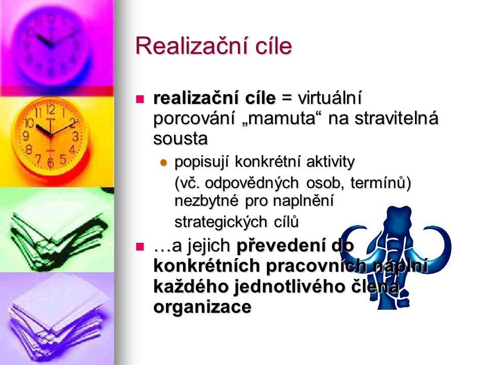 """Realizační cíle realizační cíle = virtuální porcování """"mamuta na stravitelná sousta. popisují konkrétní aktivity."""