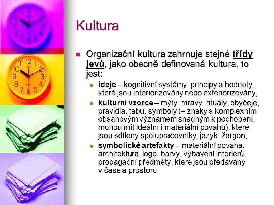 Kultura Organizační kultura zahrnuje stejné třídy jevů, jako obecně definovaná kultura, to jest: