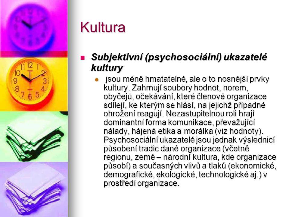 Kultura Subjektivní (psychosociální) ukazatelé kultury