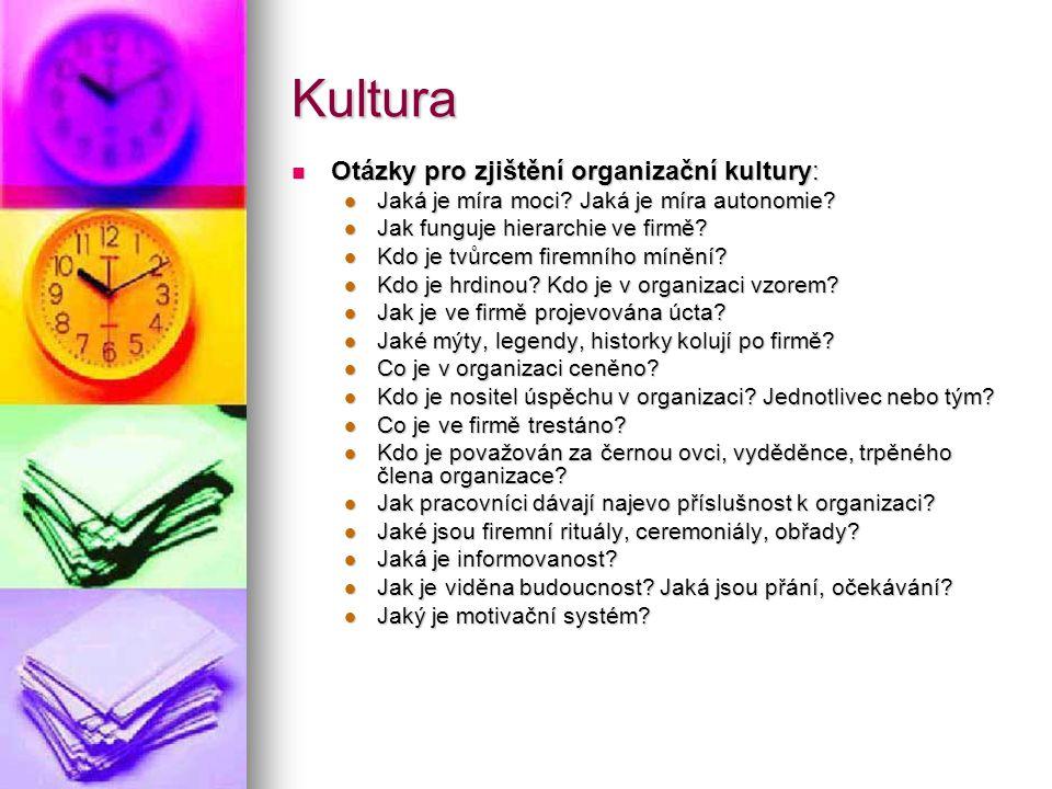 Kultura Otázky pro zjištění organizační kultury: