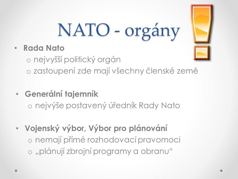 NATO - orgány Rada Nato nejvyšší politický orgán
