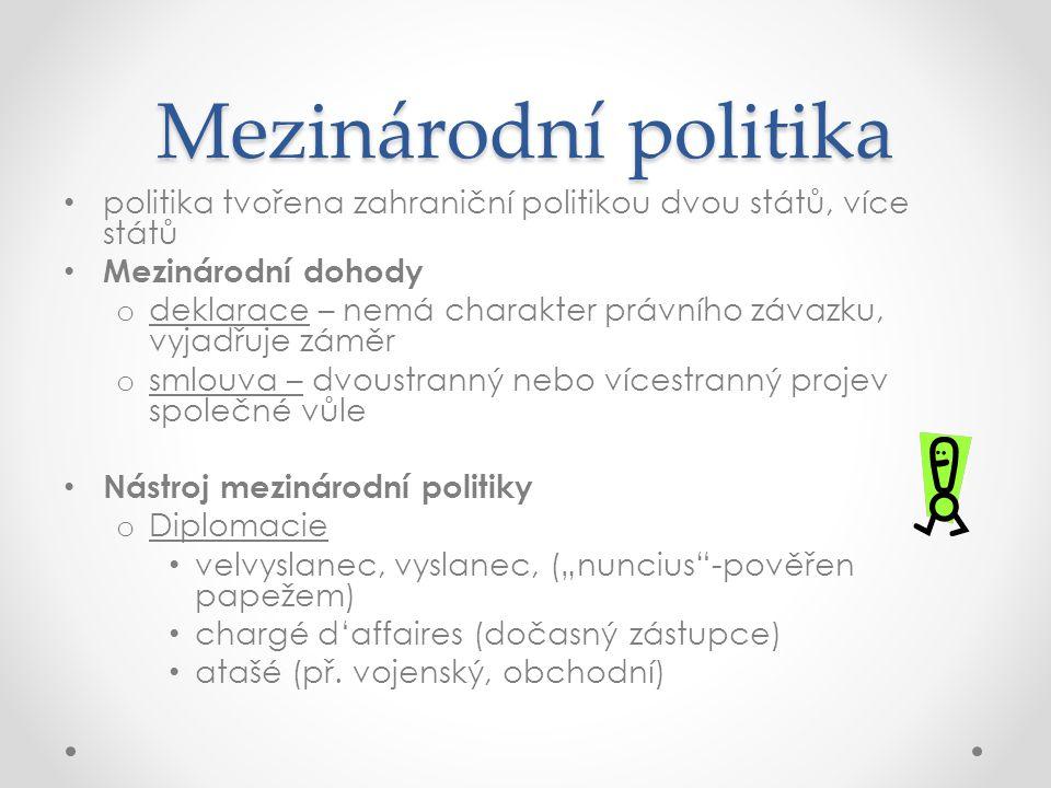 Mezinárodní politika politika tvořena zahraniční politikou dvou států, více států. Mezinárodní dohody.
