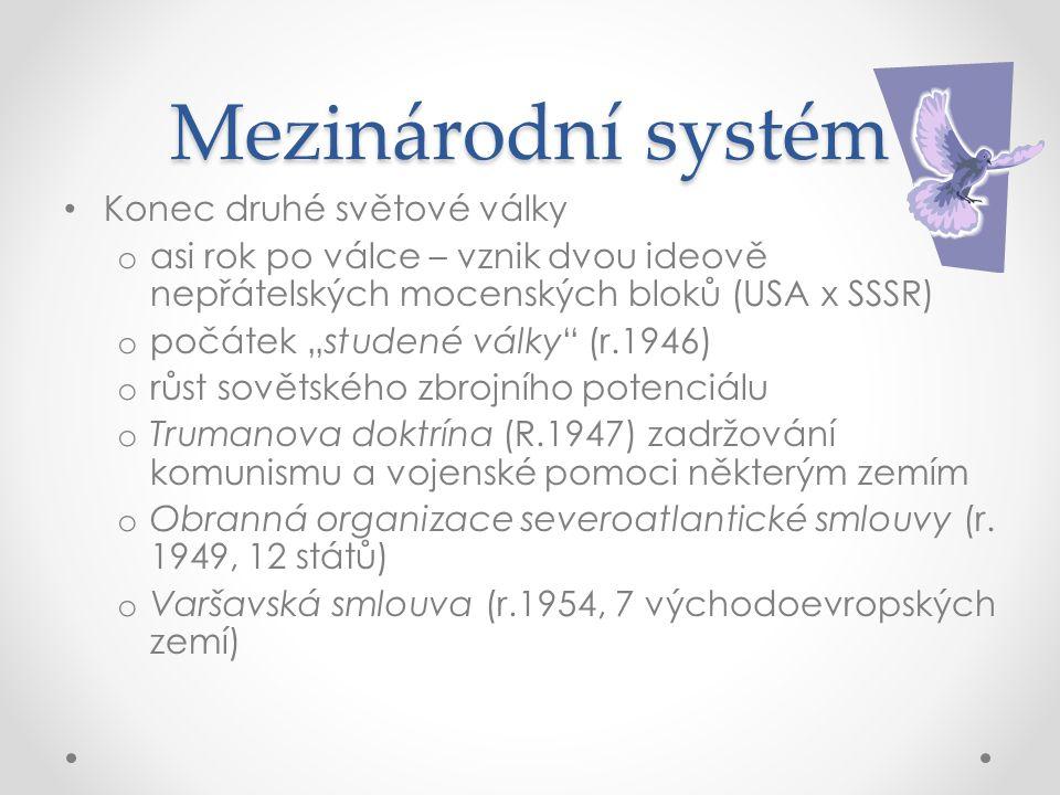 Mezinárodní systém Konec druhé světové války