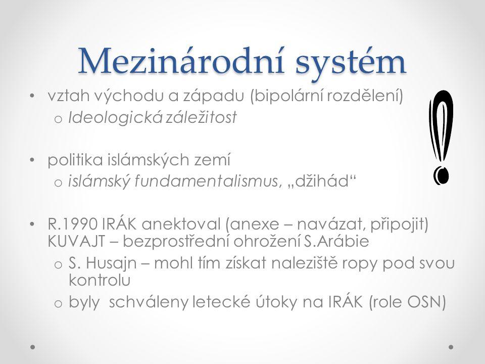 Mezinárodní systém vztah východu a západu (bipolární rozdělení)
